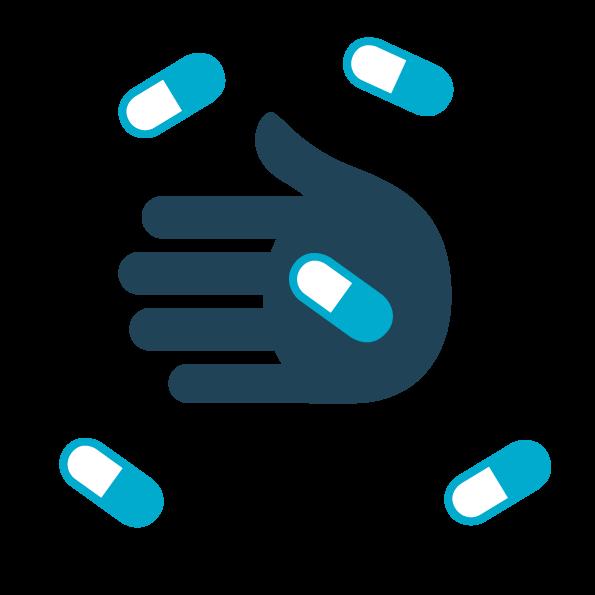 vettoriale prendere antibiotici